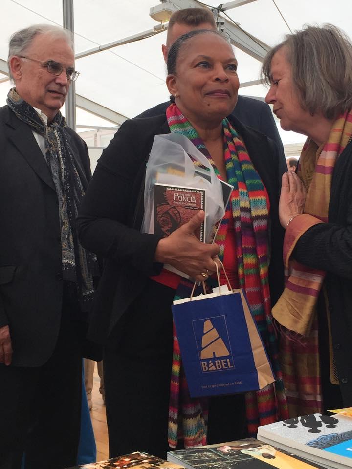 La Guyanaise et ministre de la Justice Christiane Taubira, à Saint-Malo, touchée par L'histoire de Poncia...