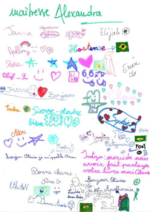 Une lettre écrite par les élèves de CM1 à Otavio, l'auteur du livre qu'ils ont lu... Trop chou :-)